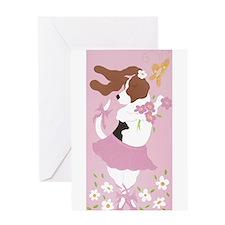 Basset Hound Ballerina Greeting Card