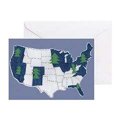 10 Blue Christmas Cards w/ USA Map