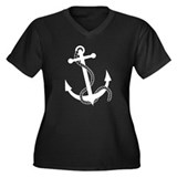 Rockabilly Tattoo Anchor Women's Plus Size V-Neck