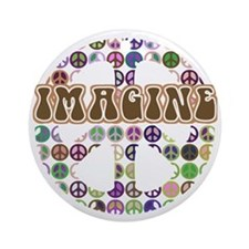 Imagine Peace On Earth Ornament (Round)