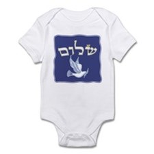 Shalom w/Dove /Bg (Hebrew) Infant Bodysuit