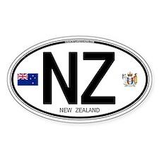 New Zealand Euro Oval Oval Sticker (10 pk)