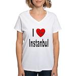 I Love Instanbul Turkey (Front) Women's V-Neck T-S