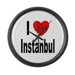 I Love Instanbul Turkey Large Wall Clock