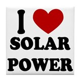 I Heart Solar Power Tile Coaster