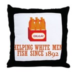 Beer Helping Men Fish Throw Pillow