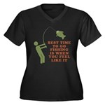 Best Time To Fish Women's Plus Size V-Neck Dark T-