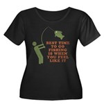 Best Time To Fish Women's Plus Size Scoop Neck Dar