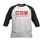 Eat Sleep Fish Kids Baseball Jersey
