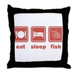 Eat Sleep Fish Throw Pillow