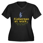 Fisherman At Work Women's Plus Size V-Neck Dark T-