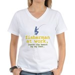 Fisherman At Work Women's V-Neck T-Shirt
