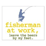 Fisherman At Work Small Poster