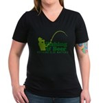 Fishing & Beer Women's V-Neck Dark T-Shirt