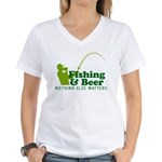 Fishing & Beer Women's V-Neck T-Shirt
