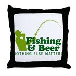 Fishing & Beer Throw Pillow