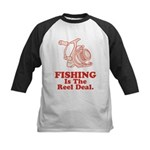 Fishing Is The Real Deal Kids Baseball Jersey