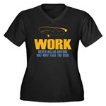 Why Try Working Women's Plus Size V-Neck Dark T-Sh