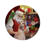 Santa and his Greyhound Ornament (Round)
