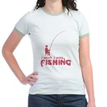 I Wish I Was Fishing Jr. Ringer T-Shirt