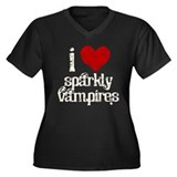 I Love Sparkly Vampires Women's Plus Size V-Neck D