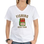 Fishing Beer Team Women's V-Neck T-Shirt