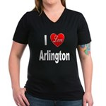 I Love Arlington (Front) Women's V-Neck Dark T-Shi