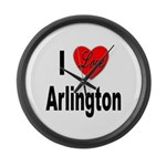 I Love Arlington Large Wall Clock