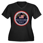 Navy Brother Women's Plus Size V-Neck Dark T-Shirt