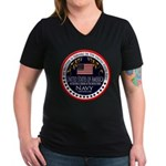 Navy Brother Women's V-Neck Dark T-Shirt