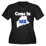 Maine, Come In! Women's Plus Size V-Neck Dark T-Sh