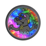 Cartoon Hippie Black Lab Clock