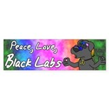 Cartoon Hippie Black Lab Bumper Bumper Sticker