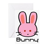 Pink Bunny Rabbit Greeting Cards (Pk of 10)