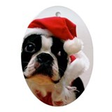 Boston Terrier Santa Claus Oval Ornament