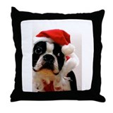 Boston Terrier Santa Claus Throw Pillow