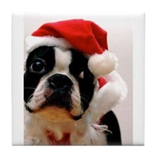 Boston Terrier Santa Claus Tile Coaster