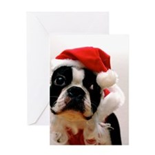 Boston Terrier Santa Claus Greeting Card