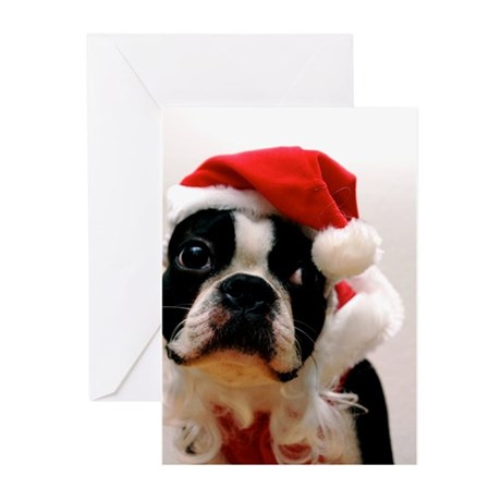 Boston Terrier Santa Claus Greeting Cards (Pk of 1