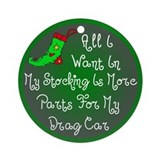 Drag Car Parts Christmas Ornament (Round)