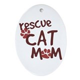 Rescue Cat Mom Oval Ornament