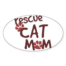 Rescue Cat Mom Oval Decal