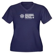 Squirrel Patrol Women's Plus Size V-Neck Dark T-Sh
