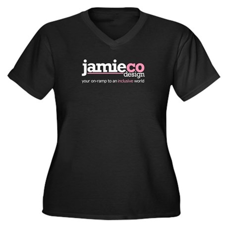 JamieCo Design Logo Women's Plus Size V-Neck Dark