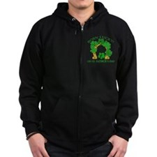 Born Lucky on St. Pats Day Zip Hoodie