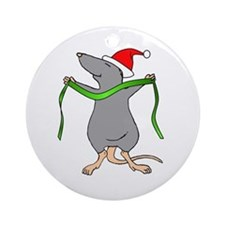Christmas Rat Hug Ornament (Round)