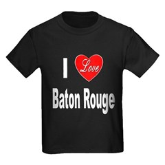 I Love Baton Rouge (Front) Kids Dark T-Shirt
