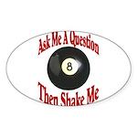 Eight Ball Question Oval Sticker