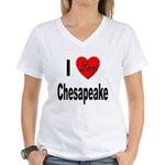 I Love Chesapeake (Front) Women's V-Neck T-Shirt