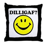 DILLIGAF Smiley Face Throw Pillow